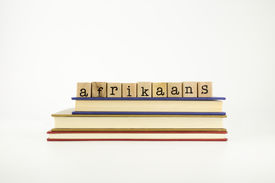 pic of dialect  - afrikaans word on wood stamps stack on books language and conversation concept - JPG