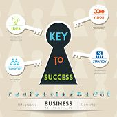 stock photo of keyholes  - Key to Success in Business Keyhole Conceptual Illustration with Icons - JPG