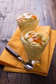 pic of panna  - Aromatic panna cotta with oranges in glass on wooden background - JPG