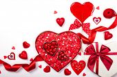 foto of valentine candy  - Heart shaped box with Valentine - JPG