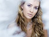 picture of queen crown  - beauty young snow queen in fairy flashes with hair crown on her head close up - JPG