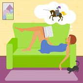 pic of fascinator  - bright colored illustration with young girl reading a fascinating book lying on the sofa and dreaming of a knight on a horse - JPG