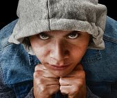 picture of gang  - Striking Image of a young Latino Gang member - JPG