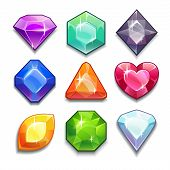 foto of shapes  - Cartoon vector gems and diamonds icons set in different colors with different shapes - JPG