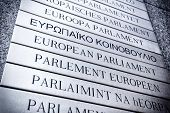 picture of nameplates  - Nameplate in all EU languages in front of the European Parliament - JPG