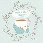 stock photo of cheeky  - Holiday card with cute cup of tea in blanket and with seagull - JPG