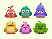 stock photo of pink eyes  - Set of cartoon funny birds in different colors - JPG