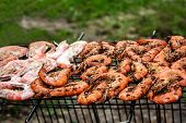 pic of shrimp  - Delicious grilled shrimps on the BBQ Grill - JPG