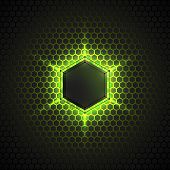 picture of polygon  - Abstract vector dark background with neon light - JPG
