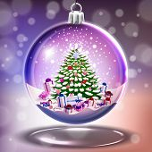 picture of crystal glass  - Crystal glass ball with christmas tree in vector - JPG