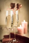pic of champagne glasses  - Glasses Of Champagne In Candlelit On St Valentine - JPG