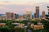 stock photo of portland oregon  - Downtown Portland Oregon from the Vista Bridge at sunset with a thunderstorm in the background - JPG