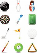stock photo of pool ball  - Three elements of each leisure sport - JPG