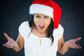 stock photo of bitchy  - Closeup portrait unhappy young pretty woman in red santa claus hat white dress asking why how could you do this - JPG