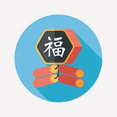 stock photo of chinese crackers  - Chinese New Year Flat Icon - JPG