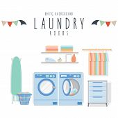 picture of dirty-laundry  - vector illustration of laundry room  - JPG