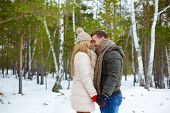 pic of amor  - Young amorous couple standing face to face and laughing - JPG