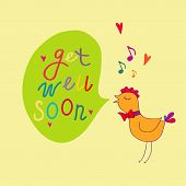 pic of get well soon  - Get well soon vector illustration on yellow background - JPG