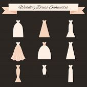 stock photo of typing  - Different styles of wedding dresses made in modern flat vector style - JPG