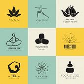 foto of ashtanga vinyasa yoga  - Set of logos for yoga studio or meditation class - JPG
