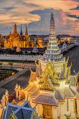 stock photo of emerald  - Wat Phra Kaew Temple of the Emerald BuddhaGrand palace at twilight in Bangkok Thailand - JPG