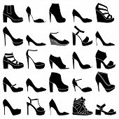 image of platform shoes  - Set of 25 fashionable shoes on white background - JPG