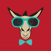 picture of stubborn  - Vector image of a donkey wearing blue glasses - JPG