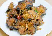 stock photo of catfish  - Spicy Stir Fried catfish on dish - JPG