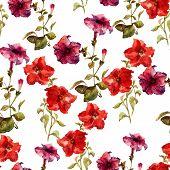 stock photo of petunia  - Beautiful vector pattern with nice petunia flowers - JPG