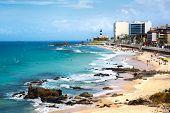 stock photo of lighthouse  - View of Barra beach and famous Farol da Barra  - JPG