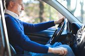 picture of driving  - Mature man driving his car - JPG