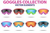 picture of goggles  - Set of Classic snowboard ski goggles with colorful glass - JPG
