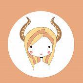 stock photo of capricorn  - Horoscope Capricorn sign girl head vector illustration - JPG