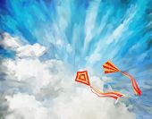stock photo of kites  - Blue sky vector artistic background  with white fluffy clouds - JPG