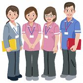 stock photo of geriatric  - Full length portraits of geriatric care manager and three social workers in white background - JPG