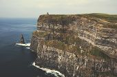 stock photo of cliffs moher  - Famous cliffs of Moher in County Clare Ireland Europe - JPG