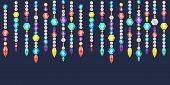 pic of gem  - Vector banner decorative garland from gems crystals and deamonds gems on a string - JPG