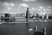 stock photo of city hall  - Stockholm skyline with the City Hall - JPG