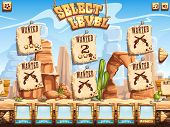 Постер, плакат: Example Of Level Selection Screen For The Computer Game Wild West