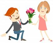 foto of kneeling  - Vector illustration Hipster funny man kneeling giving flowers to the smiling woman - JPG