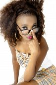 pic of spectacles  - Beautiful African Female Model Looking over her Spectacles, Pushing Them Up with One Finger, Pink Lips, Isolated on White Background ** Note: Soft Focus at 100%, best at smaller sizes - JPG