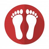 picture of flat-foot  - foot red flat icon 