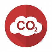 image of carbon-dioxide  - carbon dioxide red flat icon co2 sign