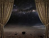 stock photo of moon stars  - Open curtains on the moon background star sky reflected in the sea - JPG