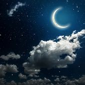 picture of moon stars  - backgrounds night sky with stars and moon and clouds - JPG