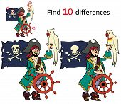 foto of pirate girl  - Find ten differences  pirate vector and cartoon illustrations - JPG