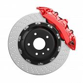 Постер, плакат: Automobile Brake Disk With Red Caliper