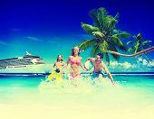 foto of beach-ball  - Friends Summer Beach Happiness Beach Ball Playing Concept - JPG