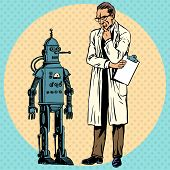 foto of scientist  - Professor scientist and a robot - JPG