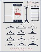 picture of wardrobe  - Hangers vector icons set various hangers and floor hanger with wardrobe currently shopping time - JPG